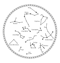 sky map with constellations vector image vector image