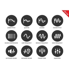 Sound waves icons on white background vector
