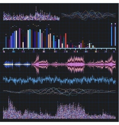 Sound waves set music background eps 8 vector