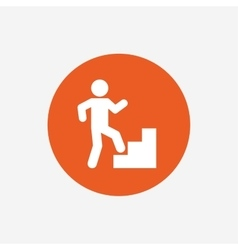 Upstairs icon Human walking on ladder sign vector image