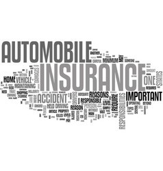 why is auto insurance important text word cloud vector image vector image