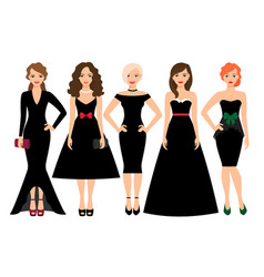 Young women in black dresses vector