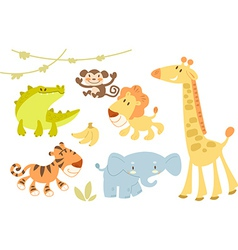 Cute animal set vector
