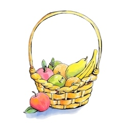 Wicker fruit basket vector
