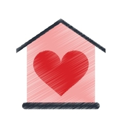 Drawing house love heart beauitful card vector
