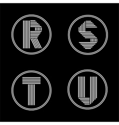 Capital letters r s t u from white stripe in vector