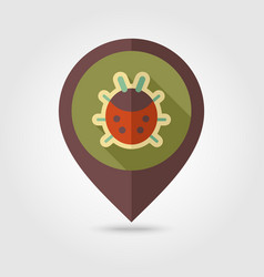Ladybug flat pin map icon vector