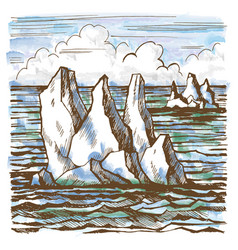 Iceberg sketch hand-drawn cartoon vector