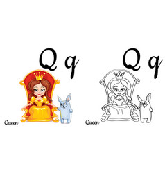 Queen alphabet letter q coloring page vector
