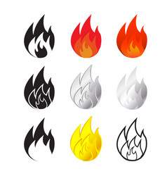 Fire and flames icon in many style vector