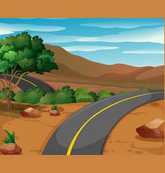 Mountain scene with empty road vector