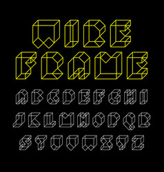3d wireframe font alphabet vector image vector image