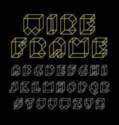3d wireframe font alphabet vector