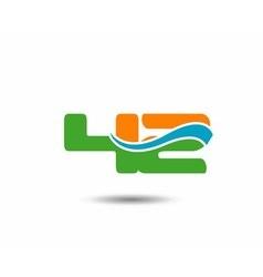 42 anniversary wave logo blue vector