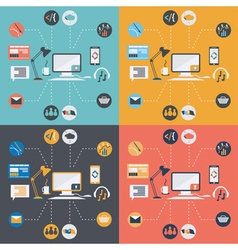 set of computer technology icons in flat design vector image