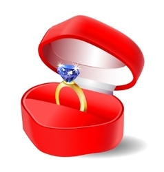 Diamond engagement ring in box icon vector