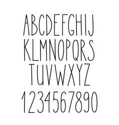 Doodle alphabet simple hand drawn letters vector image