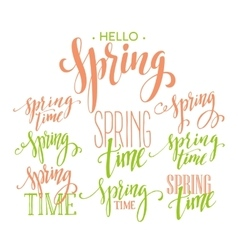 Spring time hello spring lettering set vector