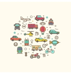 Vehicle and transport icons in circle design vector