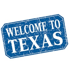 Welcome to texas blue square grunge stamp vector