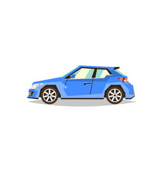 blue car hatchback side view transport for vector image