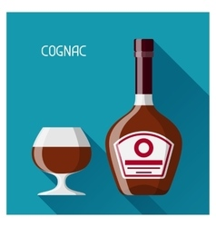 Bottle and glass of cognac in flat design style vector