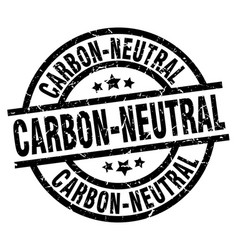 Carbon-neutral round grunge black stamp vector