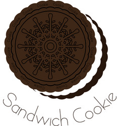 chocolate and cream sandwich cookie vector image