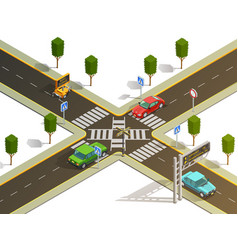 City intersection traffic navigation isometric vector