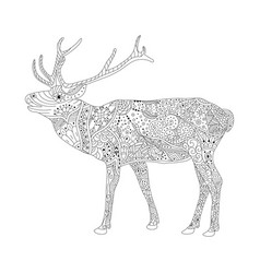 coloring book page for adults patterned deer vector image vector image