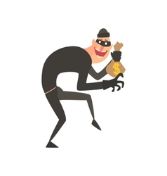 Criminal wearing mask holding money bag tiptoeing vector
