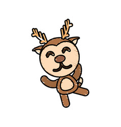 drawing deer animal character vector image