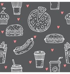 Fast food seamless pattern hand drawn food vector