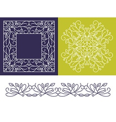 Floral Frame Mono Line Style Design Template vector image vector image