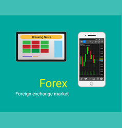 forex trading on smart phone and tablet gra vector image