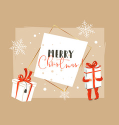 Hand drawn abstract merry christmas and vector