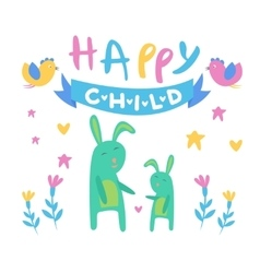 Happy child backdrop with rabbits vector