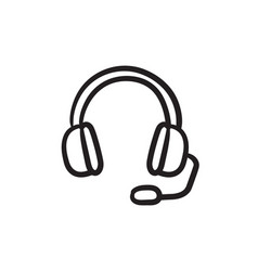 headphone with microphone sketch icon vector image vector image