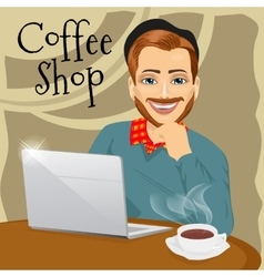 hipster man with laptop in coffee shop vector image
