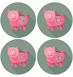 Icon Set With Pink Piggy Banks vector image