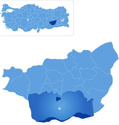 Map of diyarbakir - cinar is pulled out vector