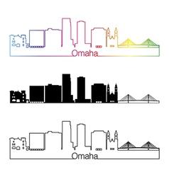Omaha V2 skyline linear style with rainbow vector image vector image