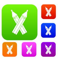 pencils set color collection vector image vector image
