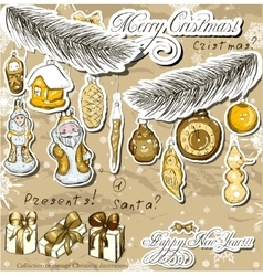 Poster with vintage christmas decorations vector