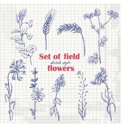 Set of isolated field plants in sketch style on vector image