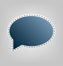 Speech bubble icon blue icon with outline vector