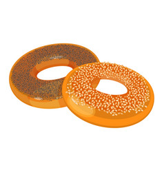 two bagels with poppy and sesame seeds flat design vector image
