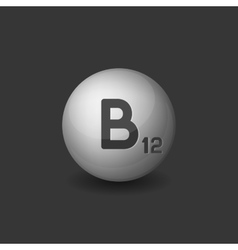 Vitamin B12 Silver Glossy Sphere Icon on Dark vector image vector image