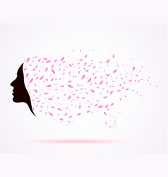 Young girl face silhouette with long floral hair vector