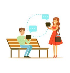 Young man and woman communicatitng with their vector
